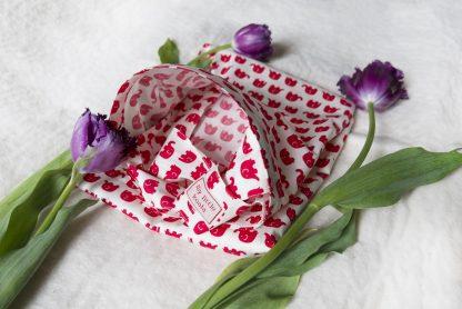 Breastfeeding apron cover up scarf poncho shawl- red elephants - Boned neck