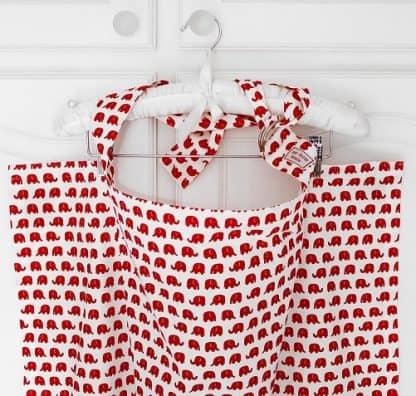 Breastfeeding apron cover up scarf poncho shawl- red elephants - Boned neckline
