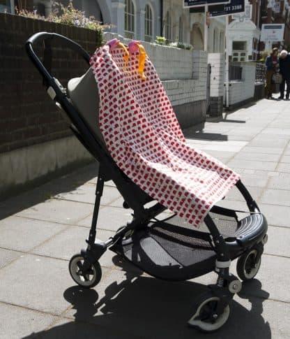 Breastfeeding apron cover up scarf poncho shawl- red elephants - Sunshade