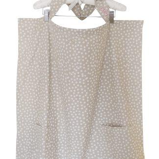 Breastfeeding cover up nursing apron scarf poncho shawl- Beige floral - white background