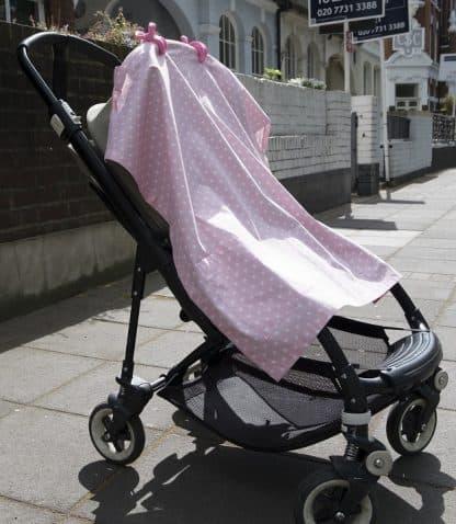 Breastfeeding cover up nursing apron scarf poncho shawl - Pink stars - suncover