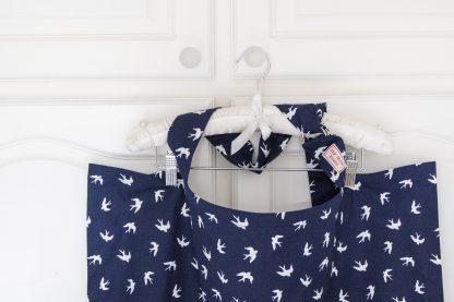 Breastfeeding cover up nursing apron scarf poncho shawl - navy swallows - Boned neck