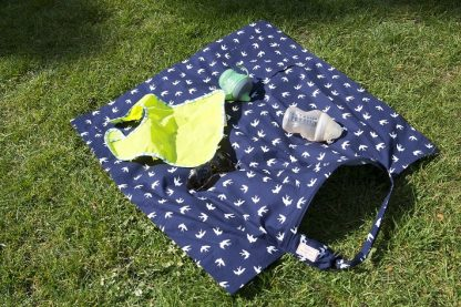 Breastfeeding cover up nursing apron scarf poncho shawl - navy swallows - picnic blanket