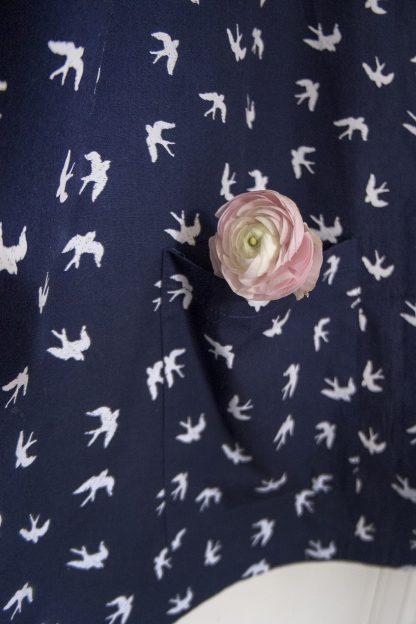 Breastfeeding cover up nursing apron scarf poncho shawl - navy swallows - pockets