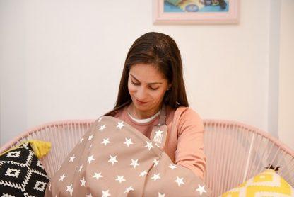 Breastfeeding Cover up nursing apron scarf poncho - Gold stars - sunshade