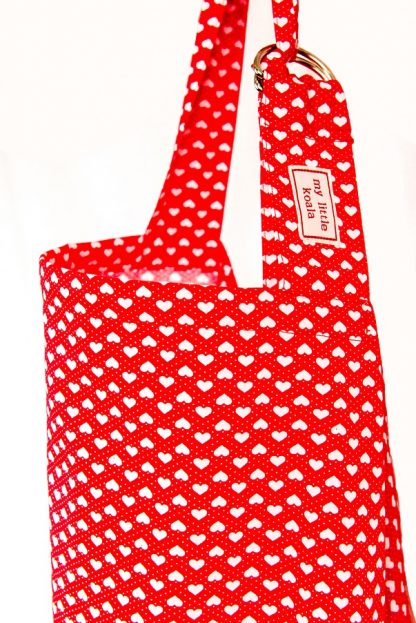 Breastfeeding cover up nursing apron scarf poncho - Red hearts - neck