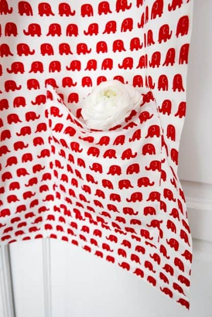 Breastfeeding apron cover up scarf poncho shawl- red elephants - Pockets