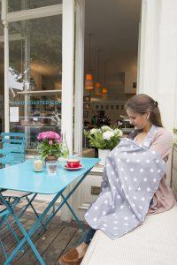 Breastfeeding cover up nursing apron scarf shawl poncho - Grey stars - model