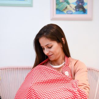 Breastfeeding cover up nursing apron scarf poncho -red hearts - model